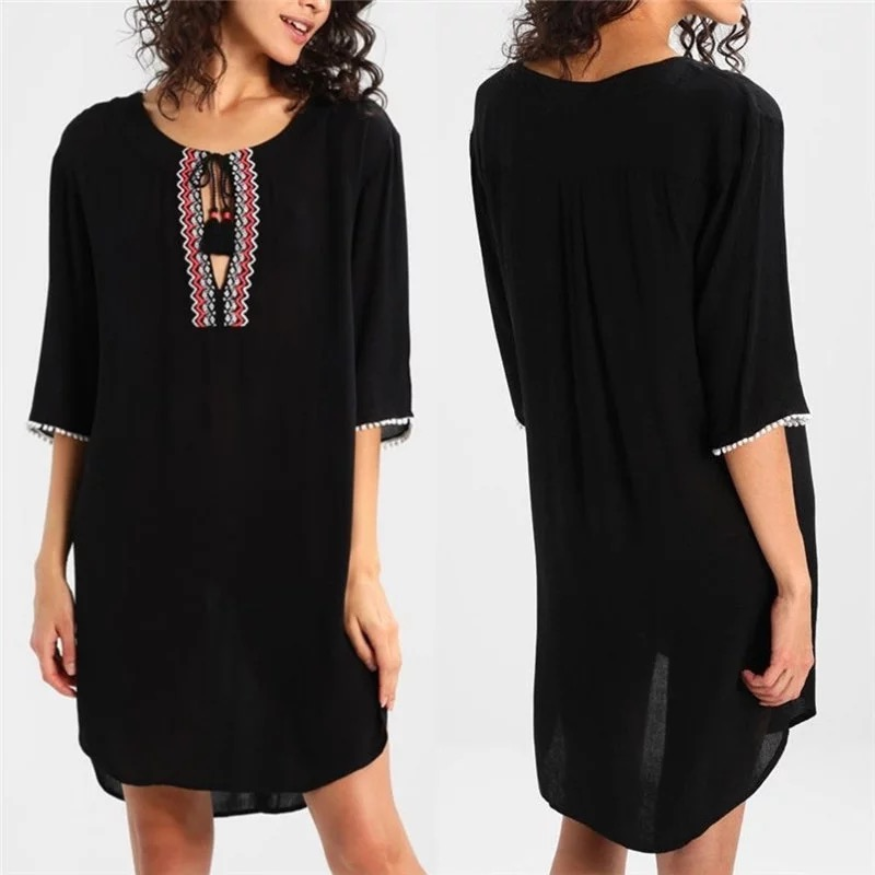 Womens Woven Embroidered O Neck Cotton Swimsuit Bathing Suit Beach Cover Up Tunic Dress
