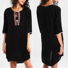 Women's Woven Embroidered O Neck Cotton Swimsuit Bathing Suit Beach Cover Up Tunic Dress все цены