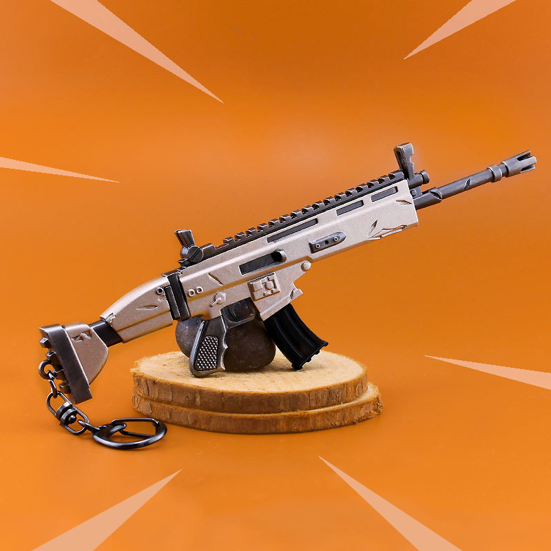 Fortnight Keychai Toy Battle Royalen Action Figure Accessories From Fortress Night Scar Rifle Weapon Model Alloy Weapons PUBG