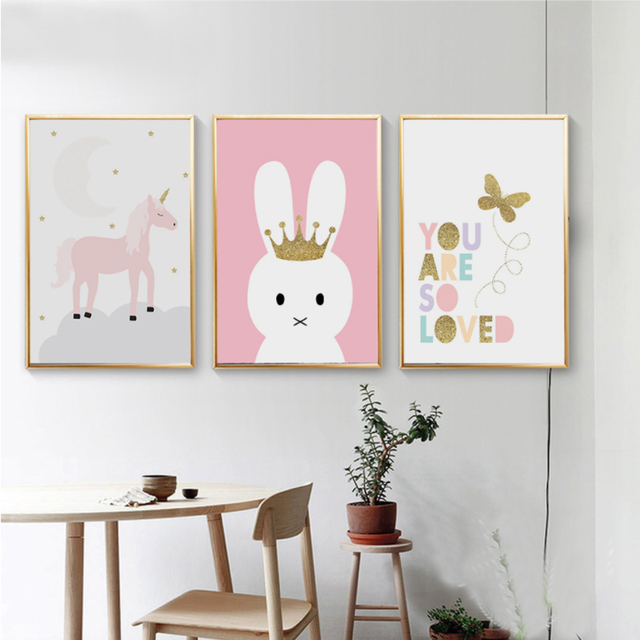 Cartoon Unicorn Butterfly Canvas Paintings Nursery Wall Art Posters And  Prints Nordic Pictures For Kids Room