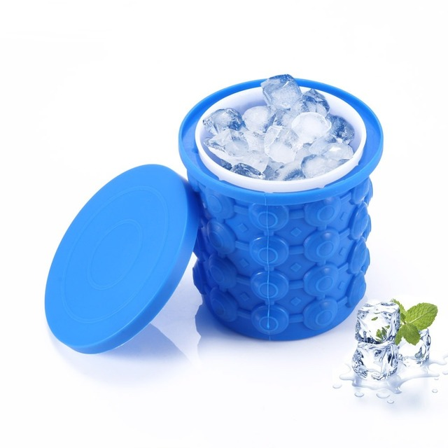 Magic Ice Cube Maker Genie Revolutionary Space Saving Ice Bucket Holder Cup Drink Beer Beverage Easy Cooling Silicone Icing Tool