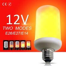 LED Corn Lamp DC 12V E27 Flame Effect Light Bulb E26 led Lamps E14 Fire Candle Lights 5W Burning Creative Decoration