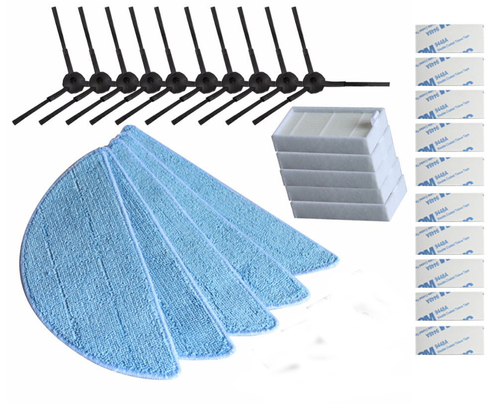 10pcs side Brush+5pcs hepa Filter+5pcs Mop Cloth+10pcs magic paste for ilife V50 10pcs bfp740 bfp740e6327 sot343
