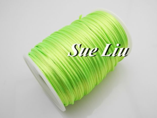 2.5mm 100yds/spool Neon Green (#12) Rattail Satin Cord Chinese Beading Polyester (similar but not nylon) Cord NCP5
