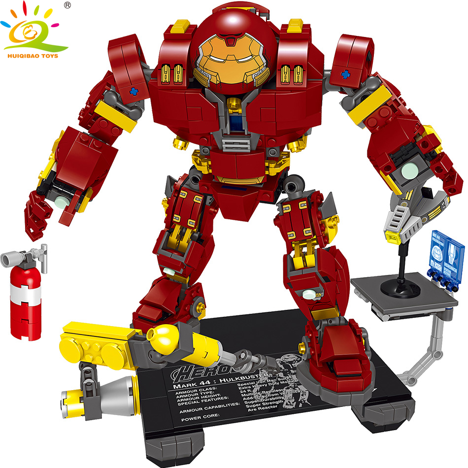 все цены на 776pcs Iron Man Hulkbuster Building Blocks Compatible legoed Marveled Avengers Robot Brick Educational Toys For Children Boy онлайн