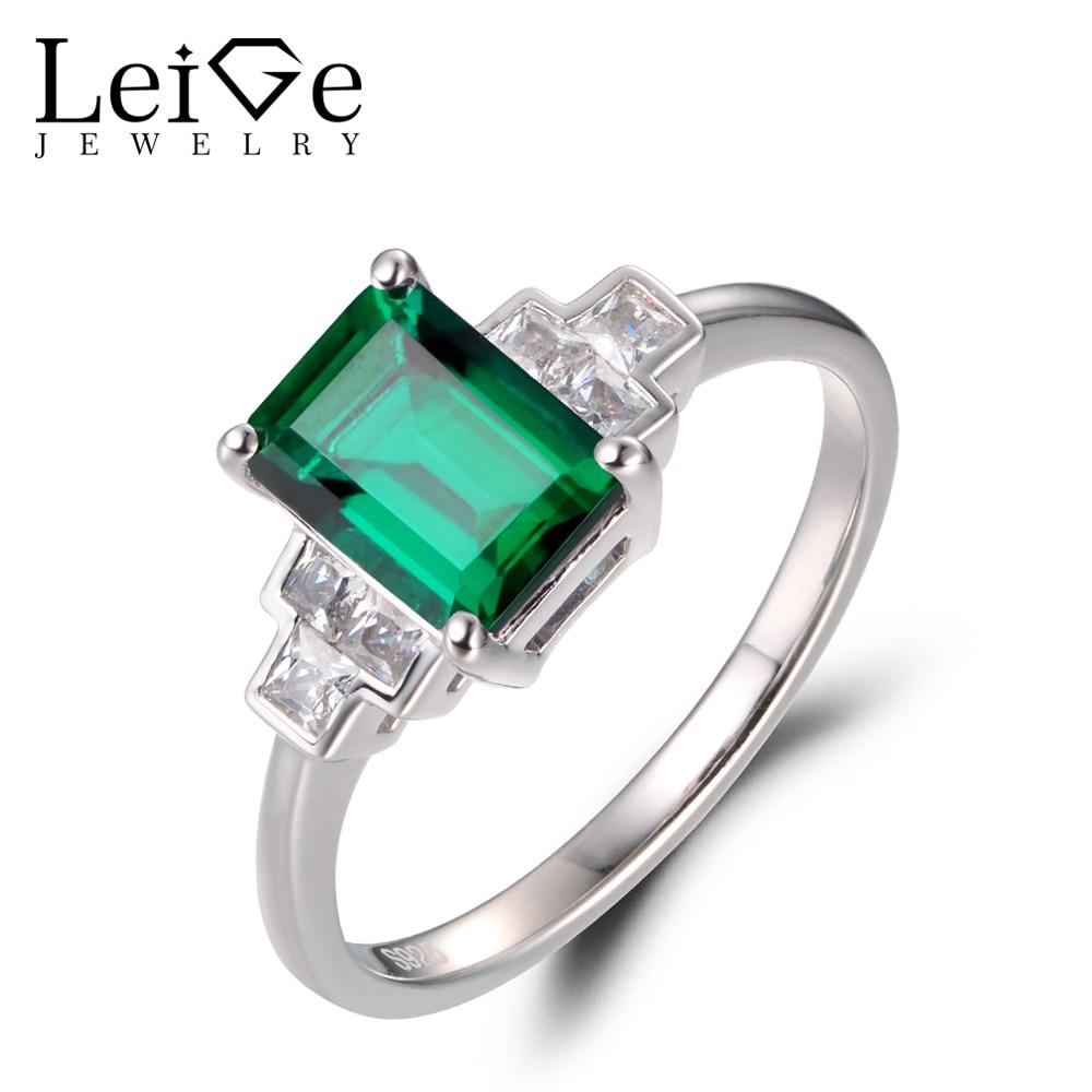 Leige Jewelry Vintage Emerald Rings Anniversary Rings May Birthstone Green Gemstone 925 Sterling Silver Wedding Gifts