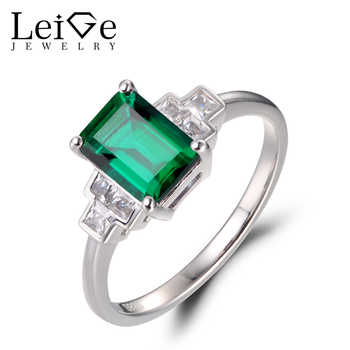 Leige Jewelry Vintage Emerald Rings Anniversary Rings May Birthstone Green Gemstone 925 Sterling Silver Wedding Gifts for Women - DISCOUNT ITEM  0% OFF All Category