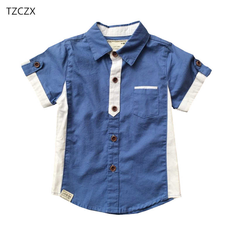 TZCZX Children Boys Shirts New Fashion Patchwork Color Woven Short sleeved Shirt For 1-6 year kids wear clothing