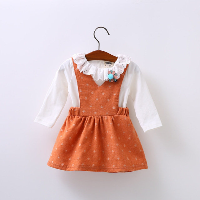 Free Shipping Long Sleeve Strap Dress Fake Two Baby Party Birthday Girls Kids Children Cotton Dresses,Princess Infant Dress