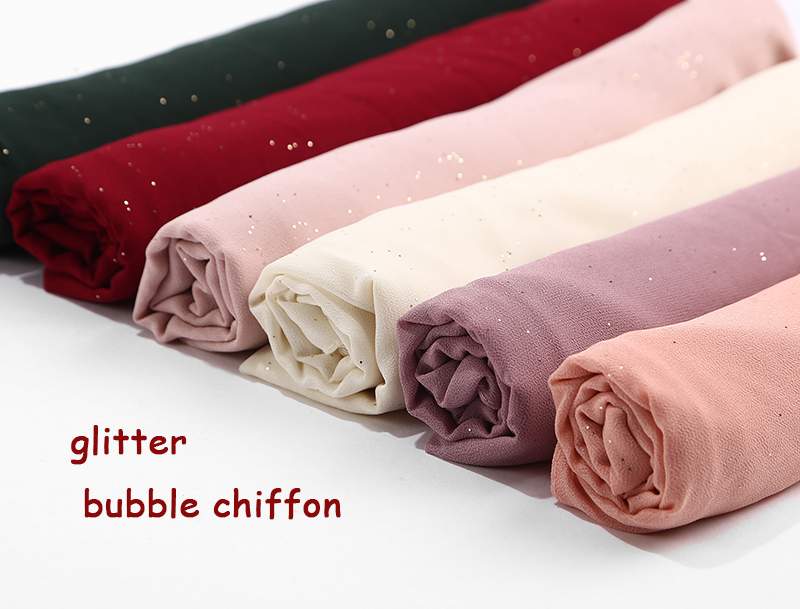 bubble chiffon glitter scarves shawls hijab plain shimmer long headband wrap muslim 20 color scarves scarf