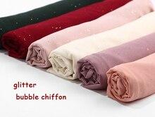 ฟองชีฟองGlitterผ้าพันคอShawls Hijab Plain ShimmerยาวHeadband Wrapมุสลิม20ผ้าพันคอสี/ผ้าพันคอ10ชิ้น/ล็อต