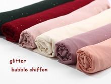 버블 쉬폰 반짝이 스카프 Shawls Hijab 일반 쉬머 긴 머리띠 랩 이슬람 20 색 스카프/스카프 10 개/몫