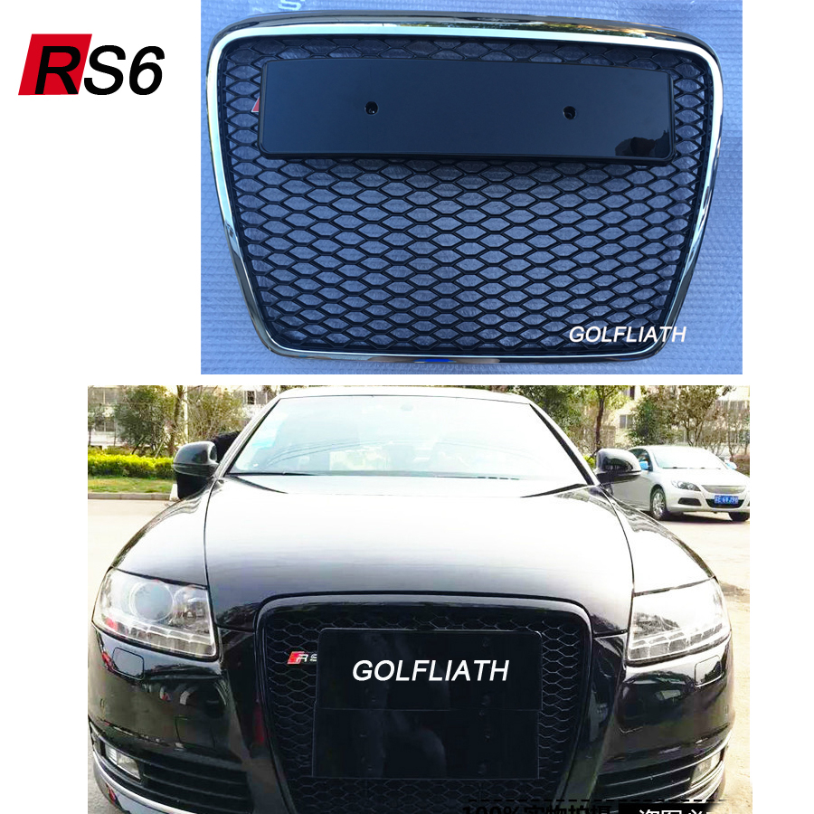 GOLFLIATH RS6 Style Black Painted ABS Honey Styling Front Mesh Grill Grille for Audi A6 S6 RS6 S-line 2009-2012 жидкость maxwells black honey 0мг 30мл