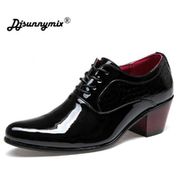 Men Patent Leather Oxford Shoes Fashion Dress Wedding Groom Shoes Breathable Pointed Toe High Heels Formal Business Prom