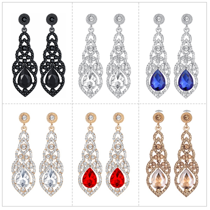 New Water-drop Vintage Silver Crystal Rhinestone Dangle Women Wedding Earring MW