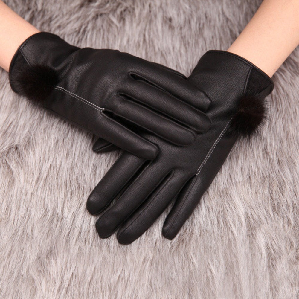 ✅Moda mujer invierno caliente cuero negro Guantes pantalla táctil ...