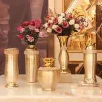 Plating Gold ceramic vase livingroom garden planting flowers pot room decoration accessories home decoration wholesale