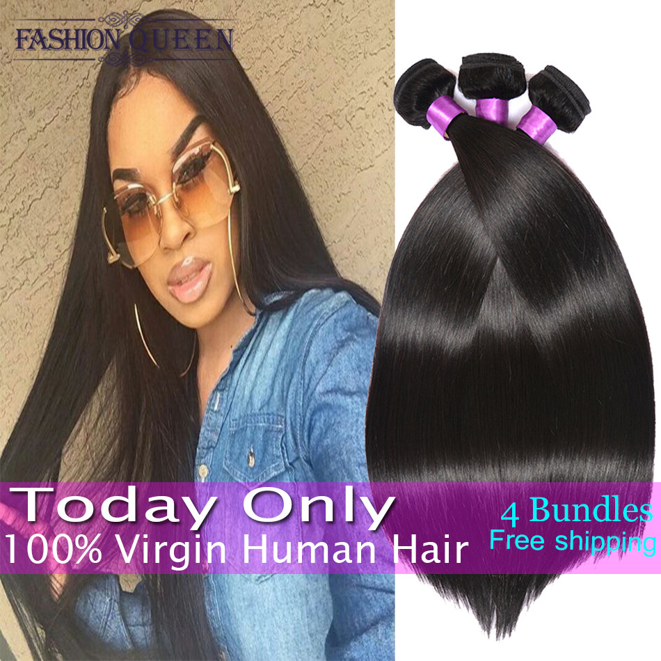 7A Hot Virgin Brazilian Straight Hair 4 Bundles Unprocessed 100% Brazilian Virgin Hair Straight Human Hair Weave Extensions