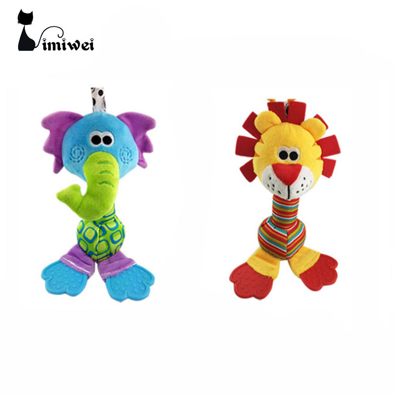 Купить с кэшбэком New Baby Teether Rattles Toys For Newborn Soft Cartoon Animal Plush Stuffed Toy Children Educational Handbells rattle baby toys