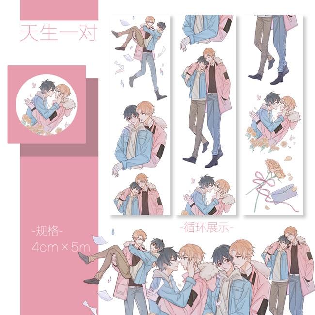 40mm*5m Special Ink Tanbi Love Handsome Boy Decoration Washi Tape DIY Planner Scrapbooking Diary Masking Tape