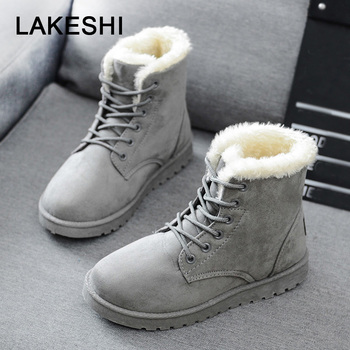 Free Shipping Women Boots Faux Suede Snow Boots Women Ankle Boots Warm Fur women booties Solid Winter Boots Leather Women Shoes 1