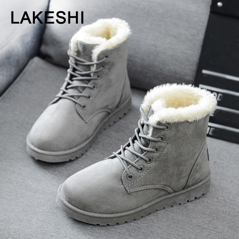 Women Boots Faux Suede Winter Boots Women Lace Up Women Ankle Boots Warm Fur Winter Shoes Solid Snow Boots Leather Women Shoes faux fur heeled ankle boots