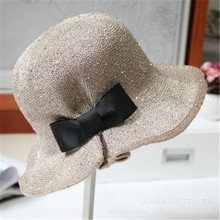 2016 elegant new sequined bow bucket hats Street beat wild sun hat folding straw hat Panama hats for women