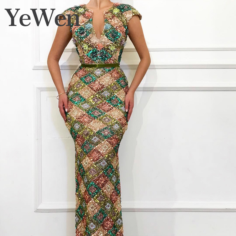 Yewen Dubai Multicolored Sequins Sexy   Evening     Dresses   2019 Long V-Neck Handmade Flowers Luxury Sparkle   Evening   Gowns