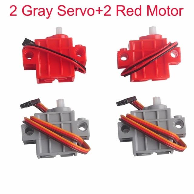 2 Chiếc 270 Độ Có Thể Lập Trình Xám Geek Servor + 2 Đỏ Động Cơ Giảm Tốc Cho Micro: bit Robotbit Lego Xe Thông Minh Makecode MB0008