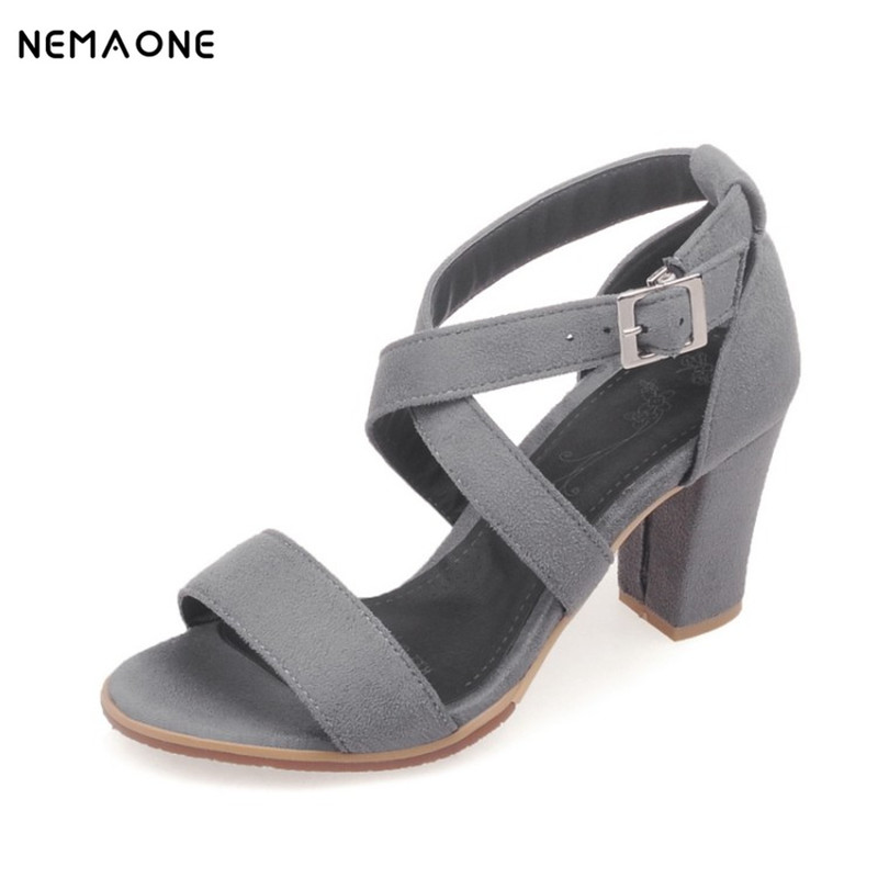 NEMAONE 2016 black open toe sandals women summer sexy high-heeled pumps shoes sandals female wide heel strap sandals недорго, оригинальная цена