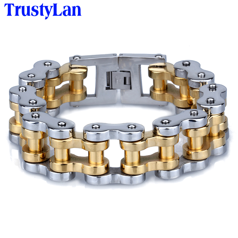 все цены на TrustyLan Wristband 22MM Wide Motorcycle Chain Bracelet For Men Gold Color Solid Stainless Steel Mens Bracelets Men Jewellery в интернете