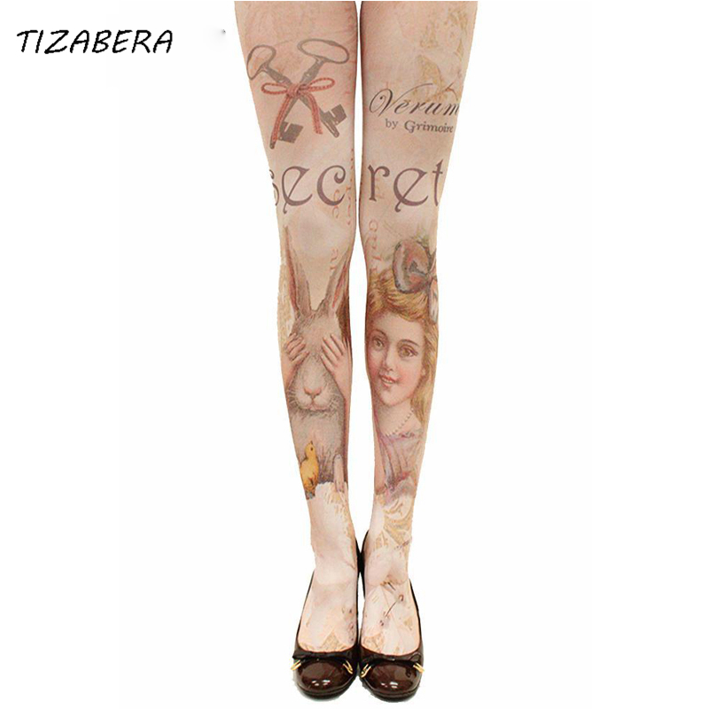 sexy women tights harajuku tattoo pantyhose in a grid stockings halloween hosiery lolita fancy medias party for women sw072 - Halloween Tights For Women