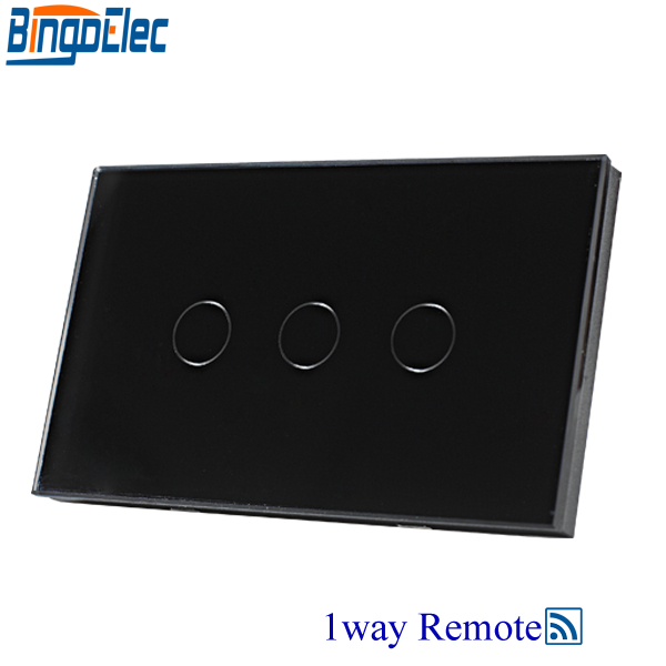 Bingoelec AU/US Satandard Black Glass Panel 3gang 1way Remote Touch Switch,Remote Control Light Switch  AC110-250V ,Hot Sale. free shipping smart home us au standard wall light touch switch ac220v ac110v 1gang 1way white crystal glass panel
