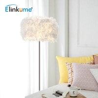 Elinkume Modern LED Romantic Feather Design Living Room Floor Lamp Feather Landing Lamp White E27 110V 220V Stand Decor Lamp