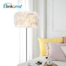 Elinkume Modern LED Romantik Tüy Tasarım Oturma Odası Zemin Lambası Tüy İniş Lambası Beyaz E27 110V 220V Standı dekor lambası
