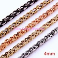 Customized Any Length Multi-color 4mm Byzantine Stainless Steel Necklace Boys Mens Chain Necklace Fashion jewelry