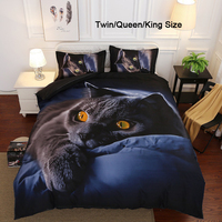2/3Pcs 3D Printing Black Cat Duvet Cover Set Bedclothes Quilt Cover Pillow Case Comfortable Bedding Sets Bedding Decor