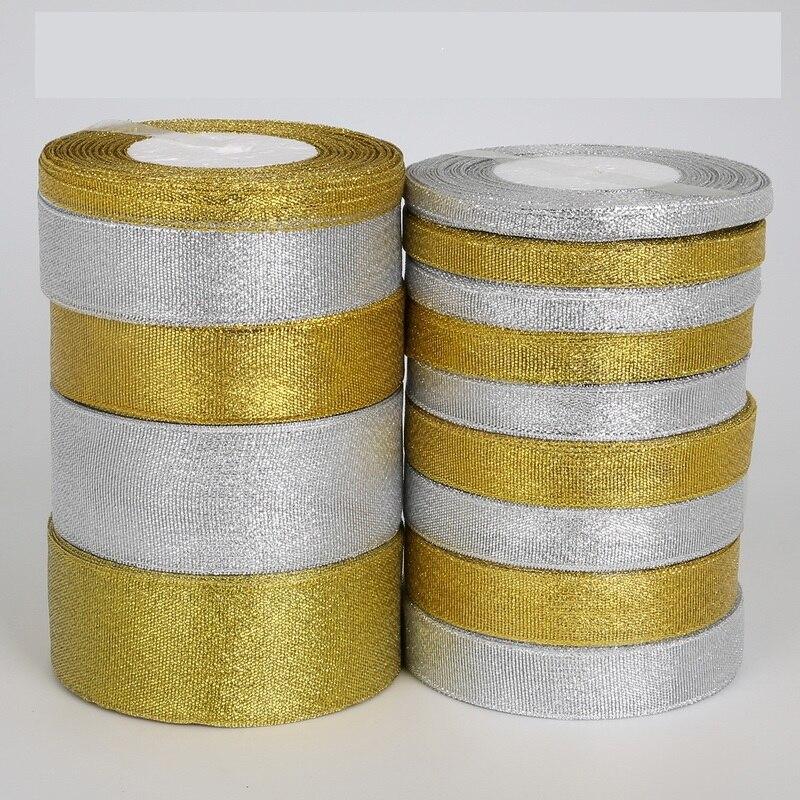 Блестящие ленты золотого и серебряного цвета ручной работы, 7 мм-38 мм, 25 ярдов, металлический блеск для свадьбы, Рождественского украшения, п...