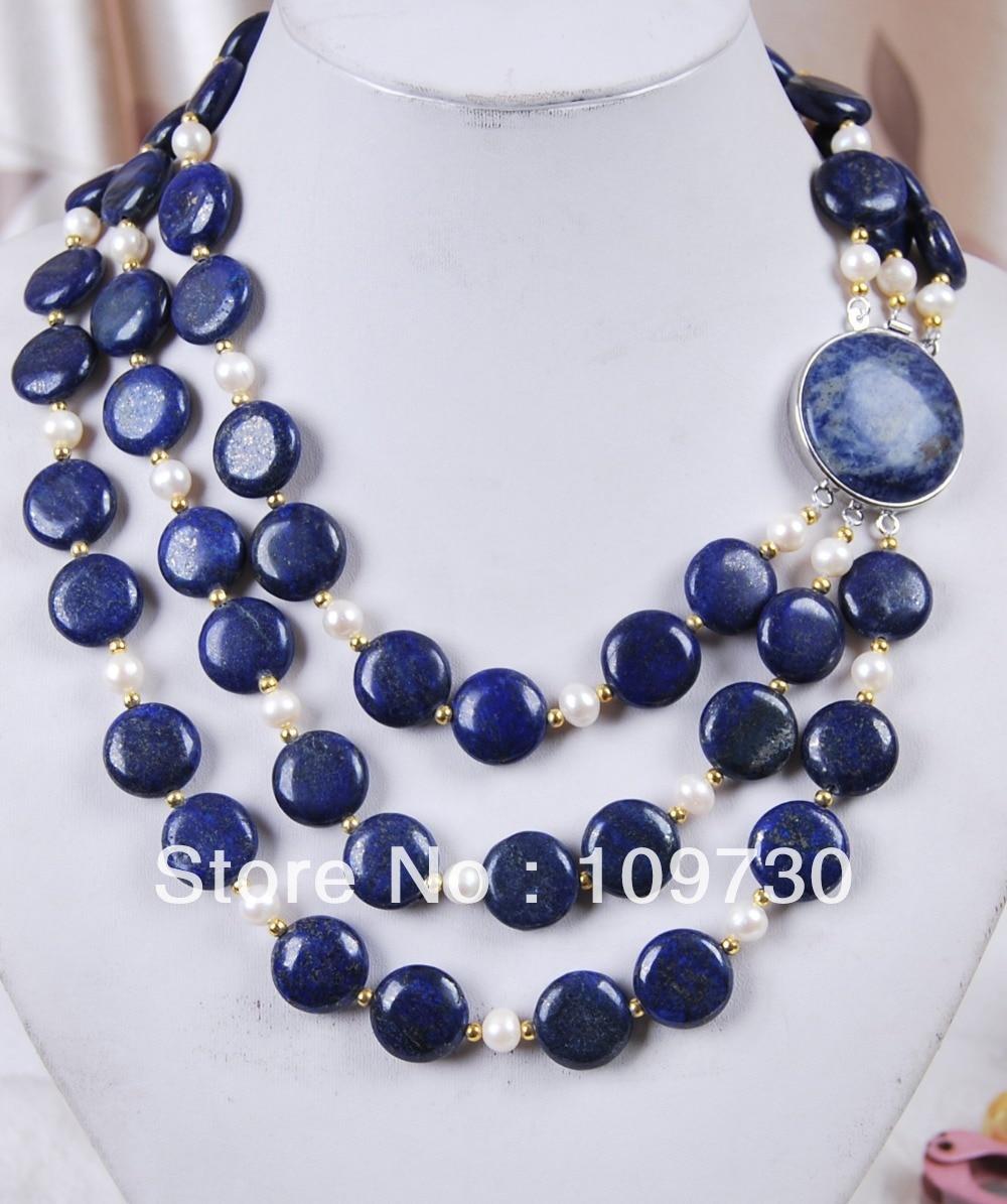 Jewelry 0033 3Rows genuine Coin Lapis Lazuli/ White Akoya Cultured Pearl Jewelry Necklace 5.4