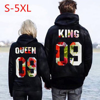 Autumn and winter new products QUEEN KING 09 floral cap long sleeve lovers wear loose hoodie.