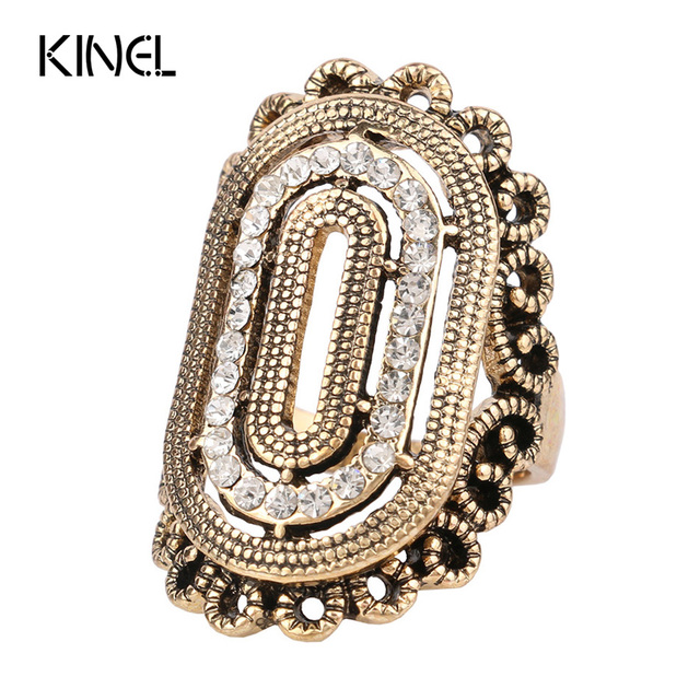 Unique Crystal Vintage Rings For Women Color Gold Classical Pattern Selectable Ring Collocation Sets Accessories