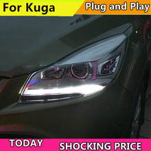 Car Styling for Ford Kuga Escape Headlights New Escape Original LED Headlight DRL Bi Xenon Lens High Low Beam Head lamp Front стоимость