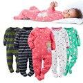 2017 nueva ropa del bebé, suave forro polar niños uno junta las piezas Del Mono Del Pijama 0-24 M infantil de la muchacha niños ropa de bebé trajes de bebes