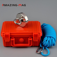 200KG Super Powerful Round Ring Neodymium Magnet Salvage Fishing Magnets with Rope Box Treasure Hunter Magnetic Holding Imanes