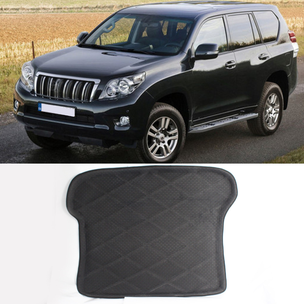 Car Rear Trunk Cargo Mat Boot Liner Suitable Rubber Floor Protector Trunk Tray Mat Anti-Slip For Toyota Prado 150 2009-2013 auto vehicle floor mat full set ridged anti slip universal car fit front rear 4 piece pvc rubber floor mat waterproof non slip
