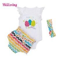 3 Stücke set Säuglingsbabys Kleidung Sleeveless Tops + Polka Dot Briefs + Kopfband Outfits Set Sunsuit YK lieb Marke babykleidung