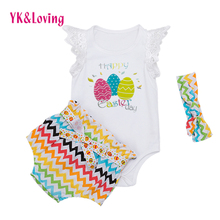 3Pcs set Infant Baby Girls Clothes Sleeveless Tops+Polka Dot Briefs+Head Band Outfits Set Sunsuit YK-Loving Brand clothing