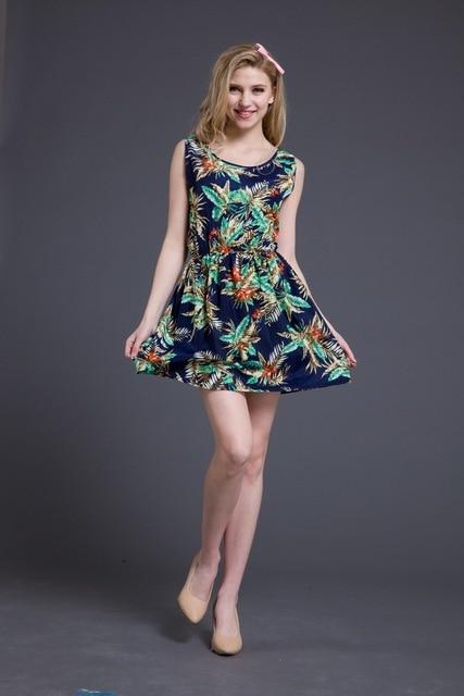 Pretty Korean Summer Casual Flower Dresses Print 2015 Cute Bodycon