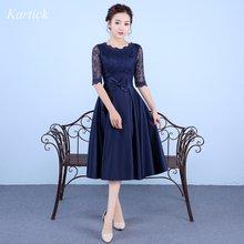Новый Темно синие Элегантные платья невесты с высокой горловиной