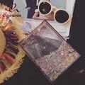 Nova Chegada de moda acrílico cor fluxo lantejoulas frasco de perfume caixa de pacote de Embreagem partido senhoras bolsa bolsa de ombro cadeia saco bolsa